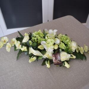 Bloemstuk ovaal 2 rozensoorten - hortensia - orchidee