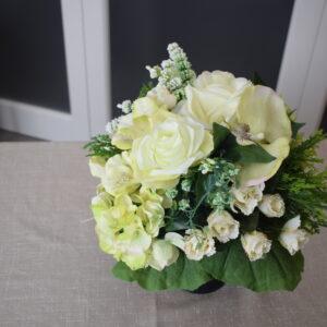 vaasstuk modern wit 3 rozensoort - orchidee - hortens